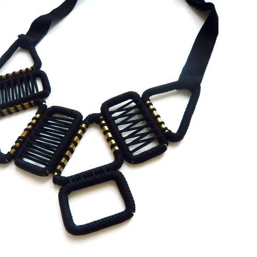 Image of 9 buckle statement woven necklace #945, color 1S or 10B (limestone/silver or carbon/bronze)