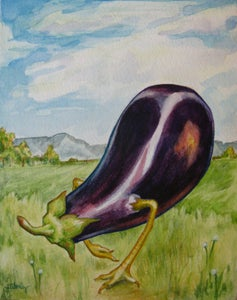 Image of Eggplant with Chicken Legs - Print