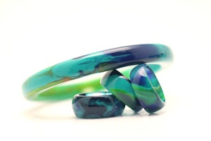 Image of Blue Jade Slender Bangle