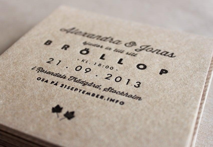Image of Sample - Wedding Invitations (letterpress printed)