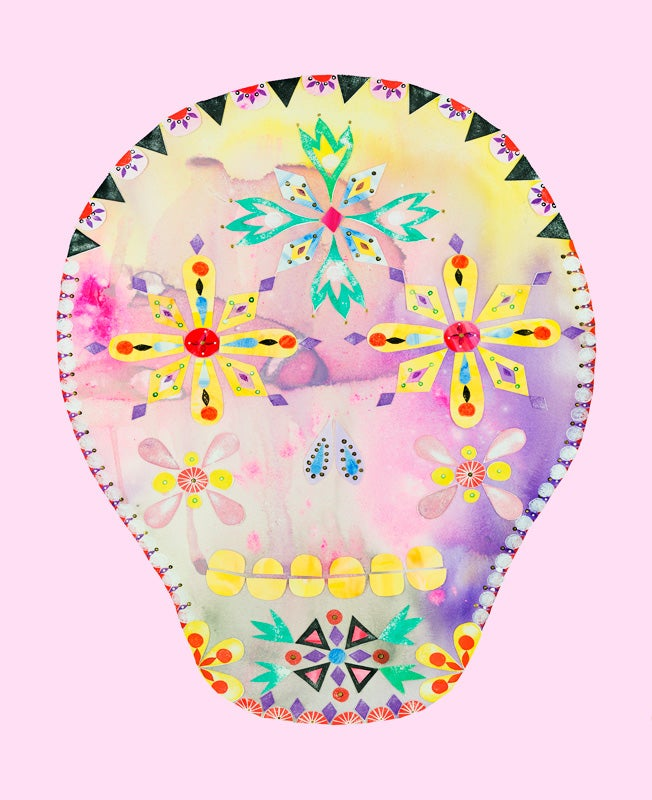 Image of Calavera Pink Print