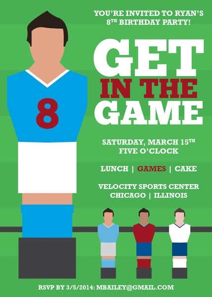 Image of Game/Foosball Themed Party Invitation