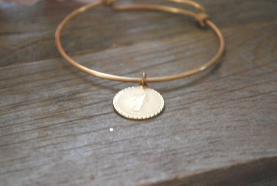 Image of Initial Charm Bangle Bracelet