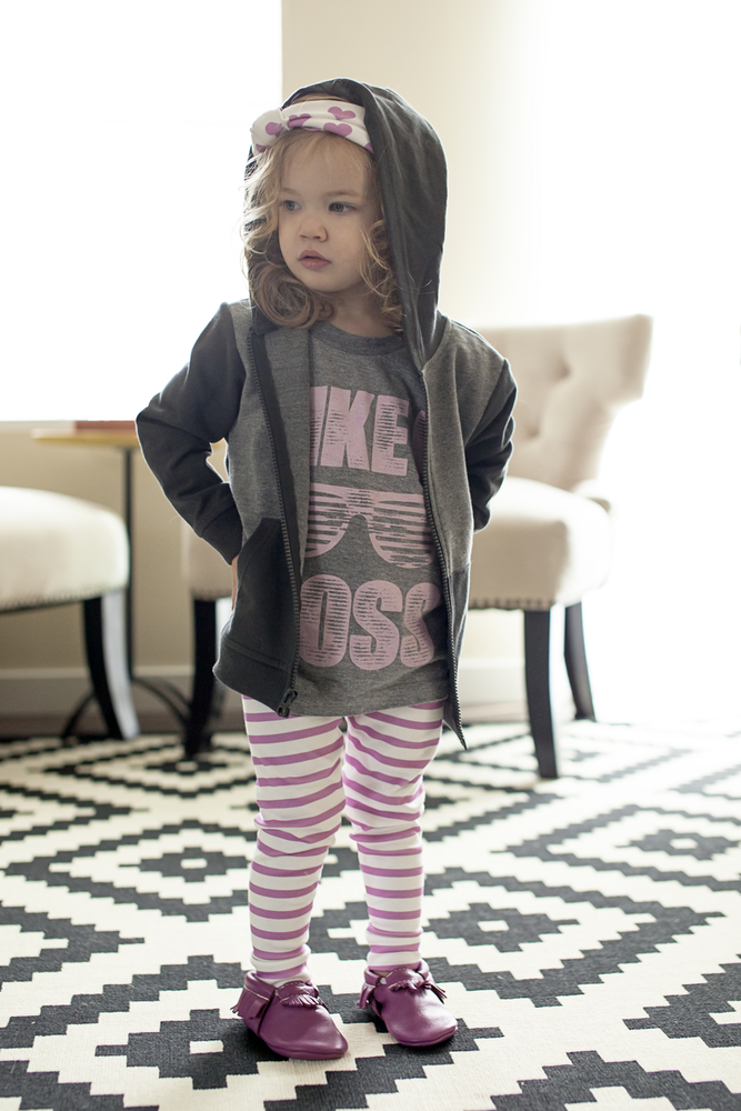 Image of ORGANIC COTTON Striped CUFFED LEGGINGS - Orchid