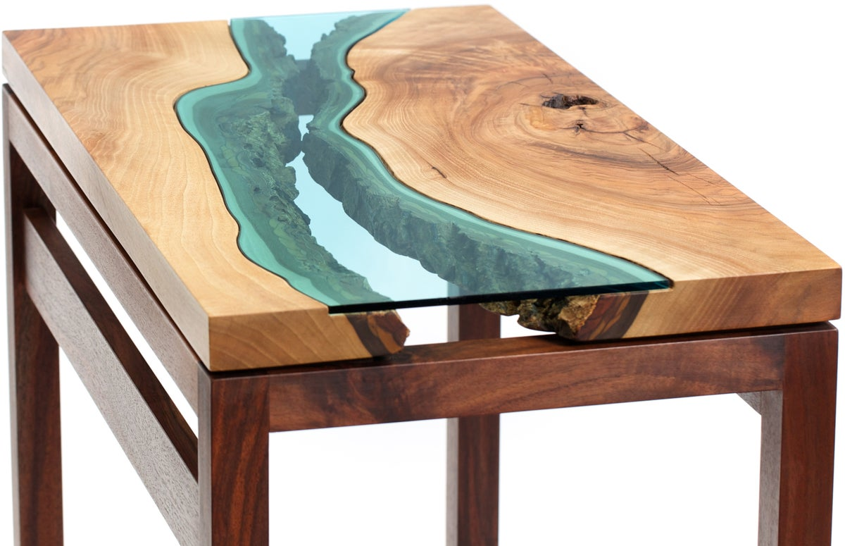Walnut river hall table greg klassen for Designer couchtisch holz glas