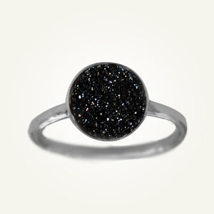 Image of Black Druzy Ring, Sterling Silver