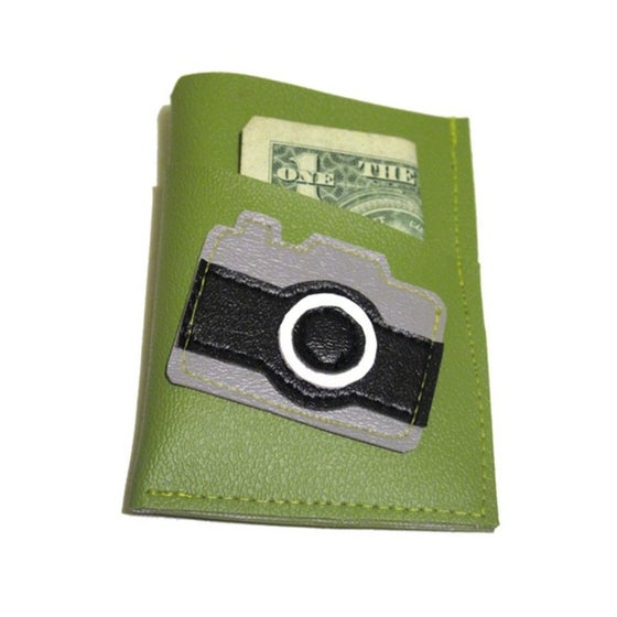 Image of Camera ) Mini Card Wallet ) Green
