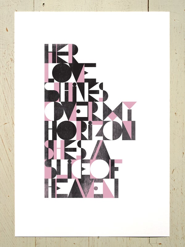 Image of Slice of Heaven art print - Black and Pink