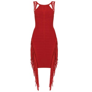"Image of ""Chantrell"" Red Fringe Love Bandage Bodycon Pencil Dress"