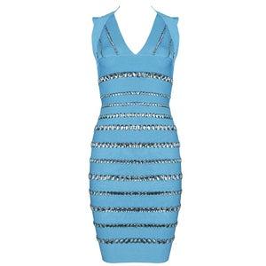 Image of Turquoise Rhinestone Diamante Bandage Bodycon Pencil Dress