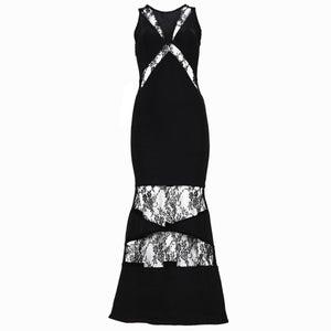 Image of Black Lace Bandage Evening Gown Dress
