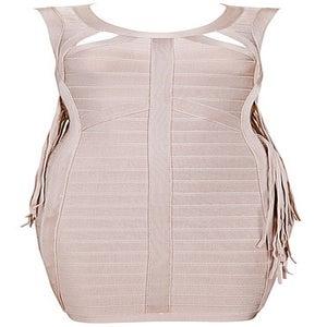 """Image of """"Nancy"""" Beige Tassel Bandage Bodycon Dress"""