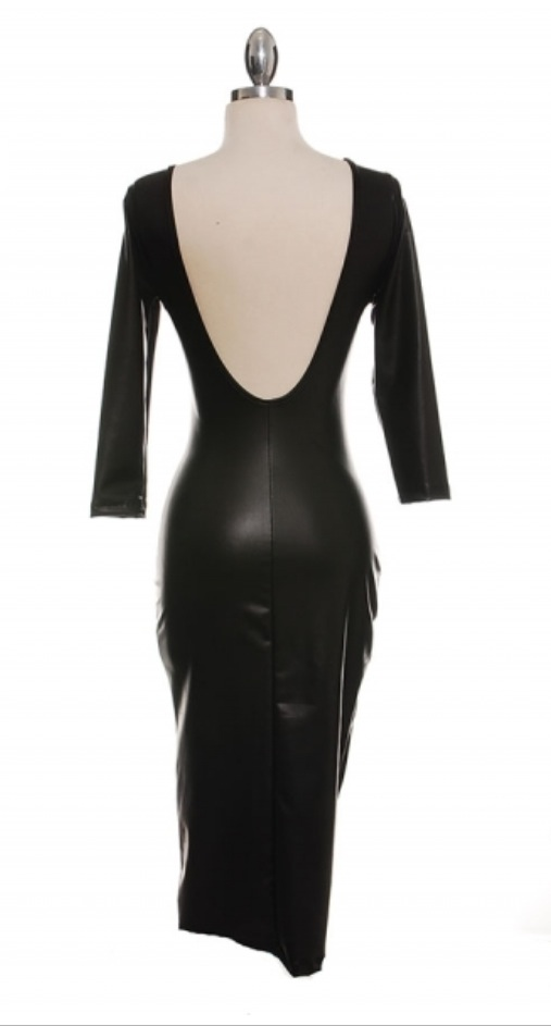 Image of Ladies - Faux leather dress