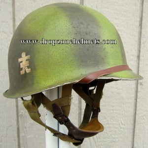 WWII M2 D-bale Airborne 509th PIB Helmet and Paratrooper Liner FRONT SEAM (AGED) Dbale