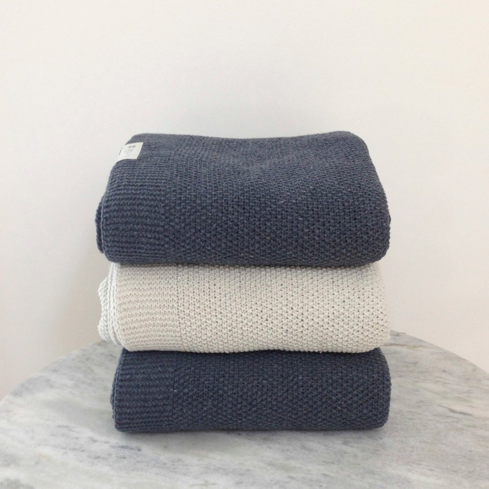 Image of Knitted Denim Throw Granite Blue