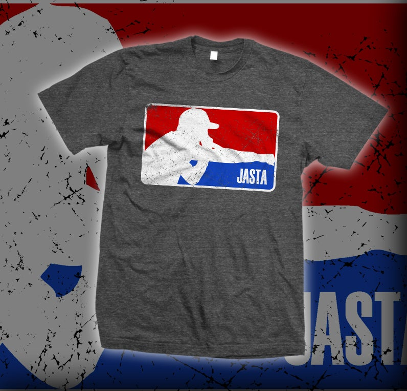 Image of JASTA charcoal gray MLB logo shirt