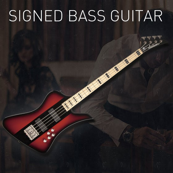 Image of Signed Jackson David Ellefson Signature Kelly Bird Bass
