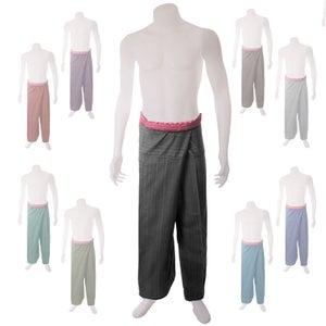 Image of Medium Weight Pin Stripe Cotton Thai Fisherman Pants