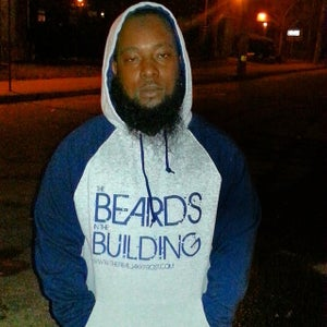 Image of HEATHER GREY AND NAVY BLUE BEARDS IN THE BUILDING HOODIE