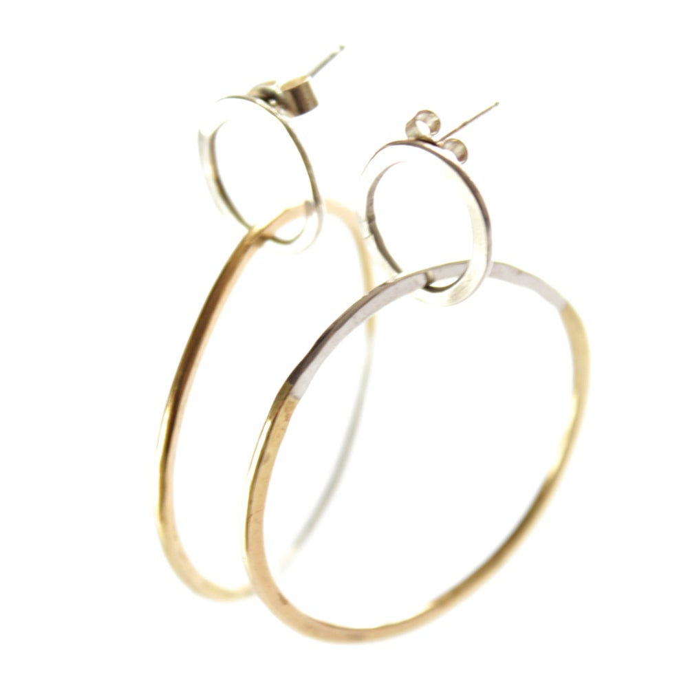 Image of Mixed metal double hoops