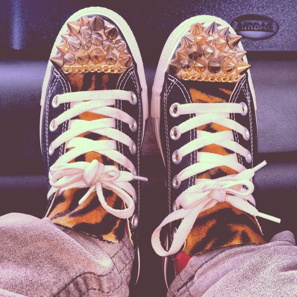 Image of Custom blk leopard , spiked low top converse w/chain
