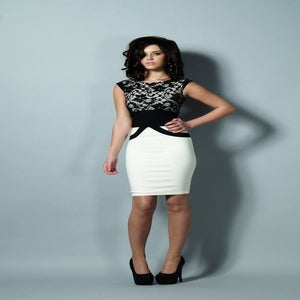 Image of Tempest Ollie Black Lace and Cream Dress