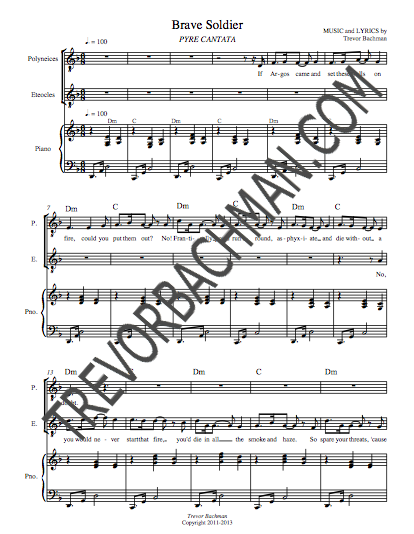 Image of 'Brave Soldier', PYRE CANTATA Sheet Music