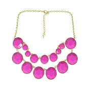 Image of Double Layer necklace: Dark Pink