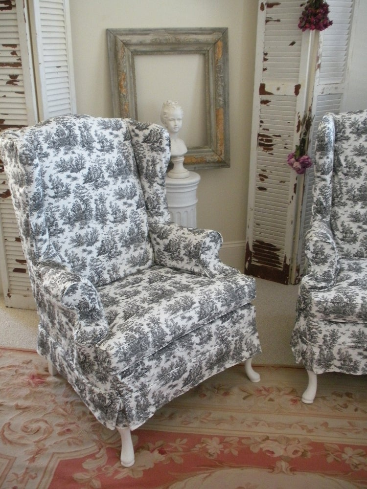 Image of Toile Wing Chairs
