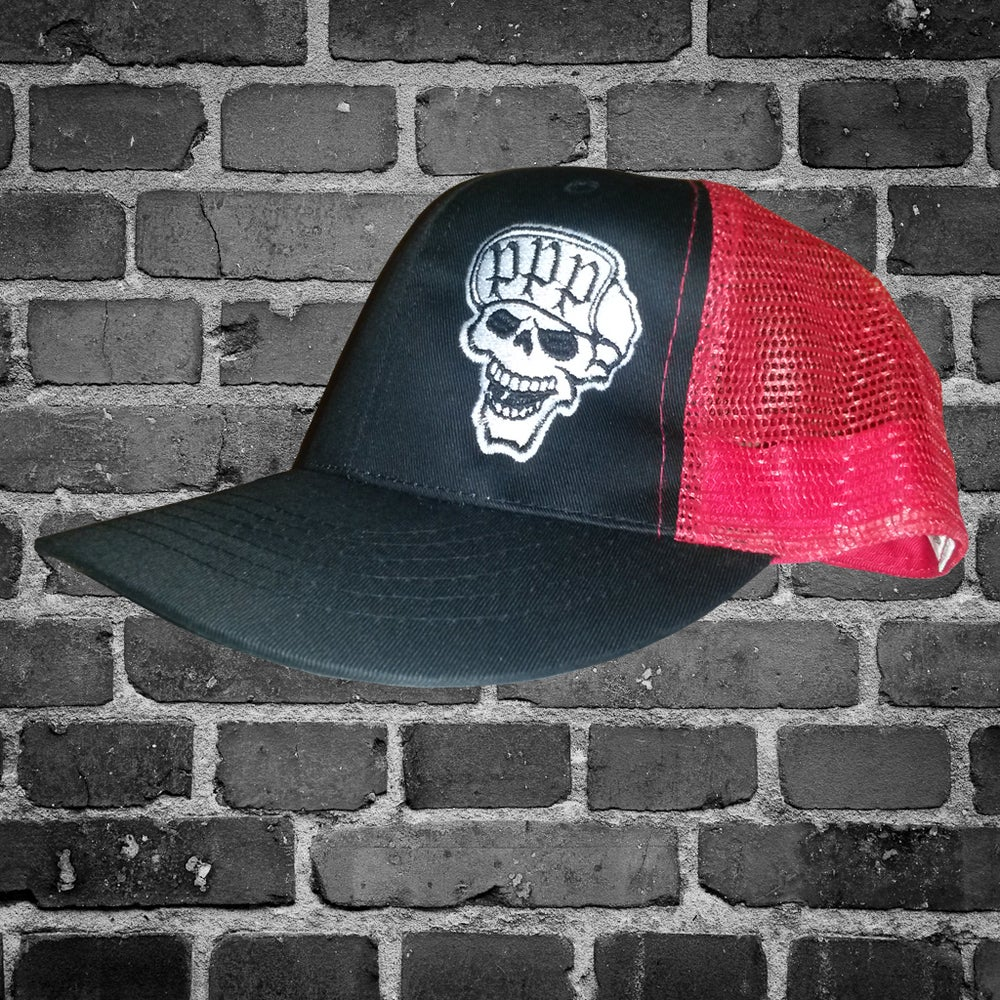Image of Red/Black Skull Trucker Flip Cap