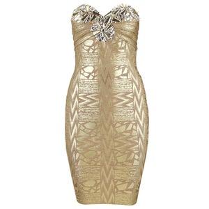 "Image of ""Annett"" Gold Bandage Rhinestone Dress"