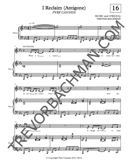 Image of 'I Reclaim (Antigone)', PYRE CANTATA Sheet Music