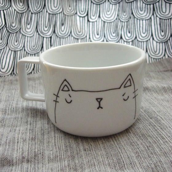 Image of sleepy grumps kitteh mug -- made to order