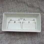 Image of kitteh pair dish -- made to order