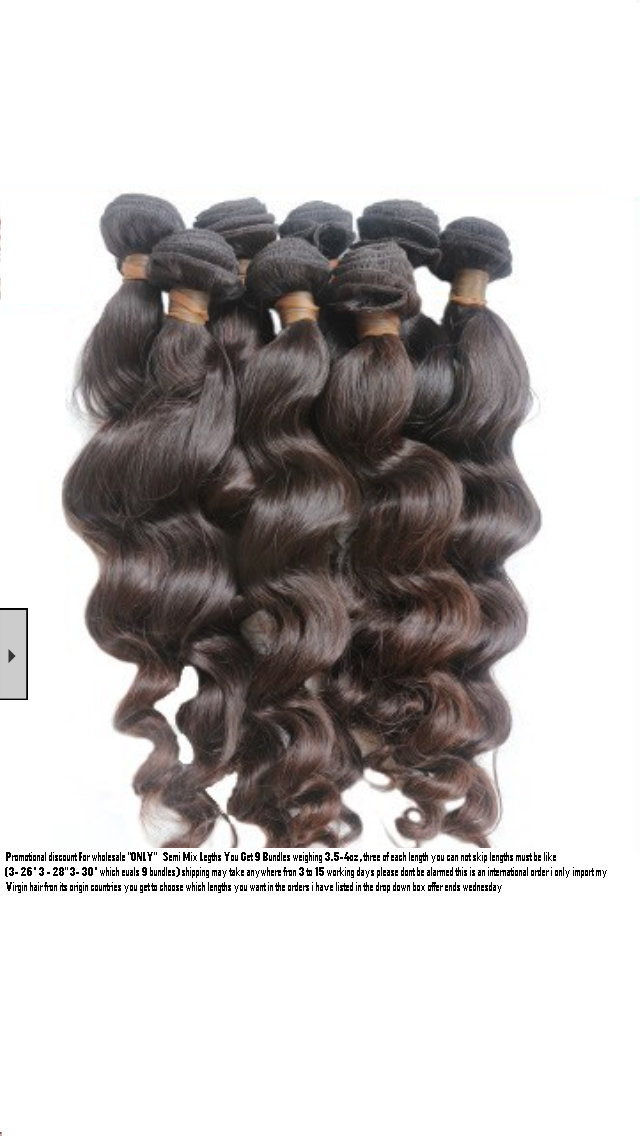 Image of Grade 8A (Virgin Brazilian Indian & Peruvian) Wholesale promo (starting at $575) virgin only