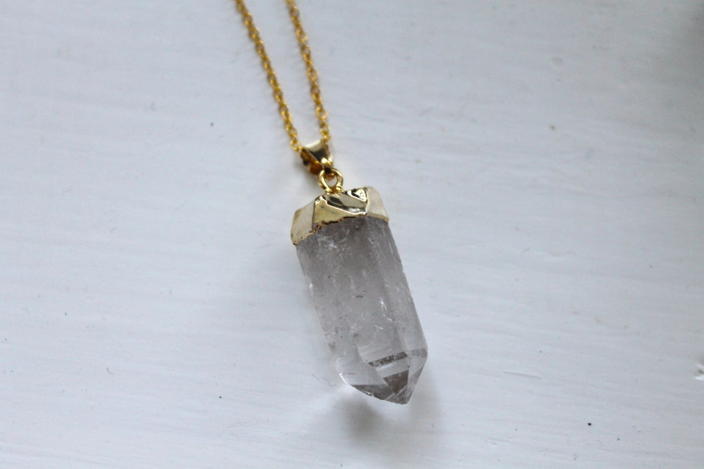 Image of Gold Dipped Quartz Point Necklace (Originally $28)