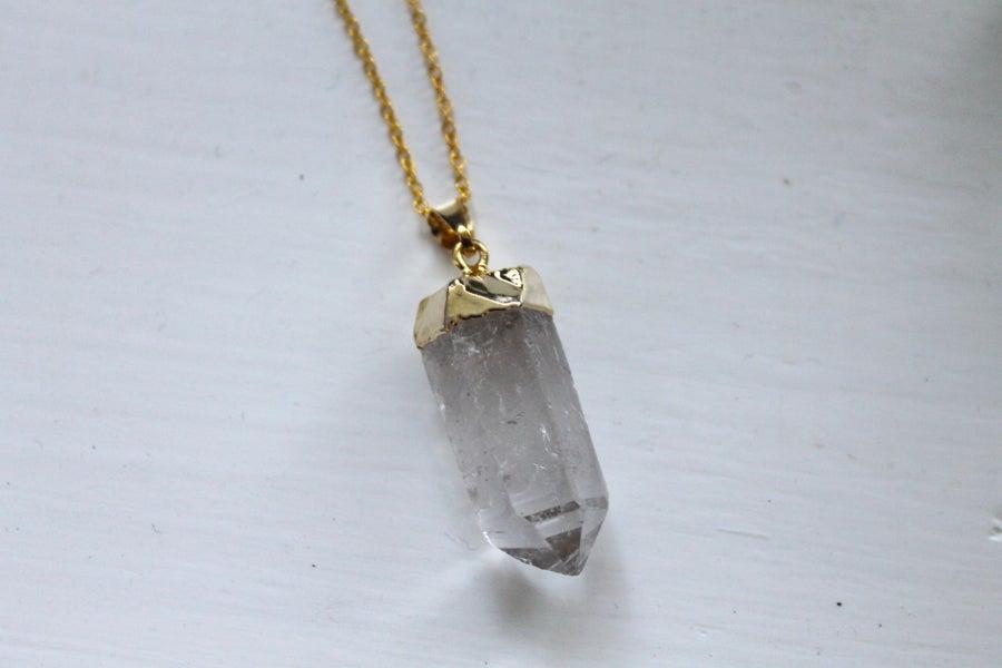 Image of Gold Dipped Quartz Point Necklace (Originally $28)