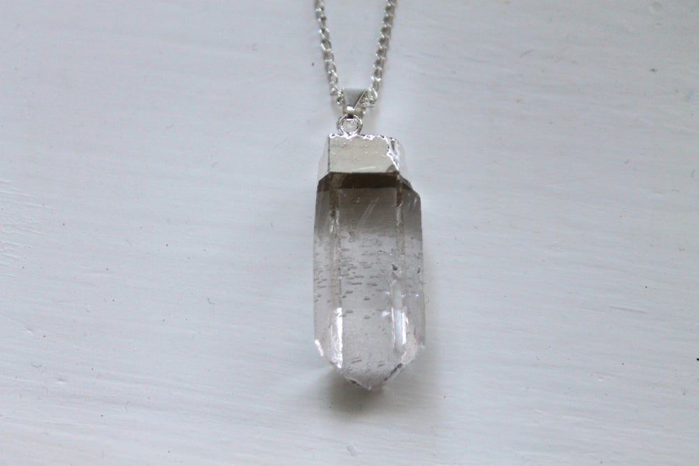 Image of Silver Dipped Quartz Point Necklace (Originally $28)