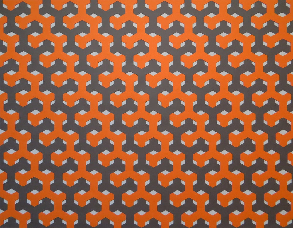 Image of Hexagon Weave- Grey and Orange