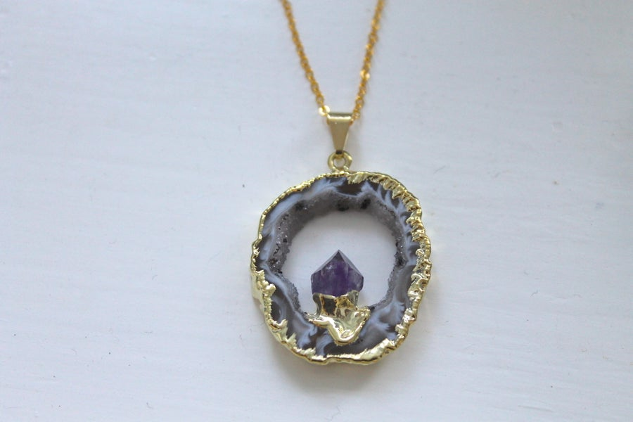 Image of Gold Dipped Geode Slice Necklace (Originally $45)