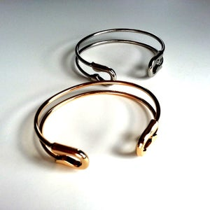 Image of Safety Pin Open Cuff Bracelet Bangle, SW264 Gold and Silver