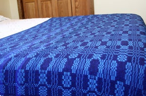 Image of Handwoven Coverlet, Royal Navy Blue Indigo Turquoise, Eco-Friendly Bamboo