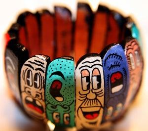 Image of Face Pi Wooden Stretch Bracelet