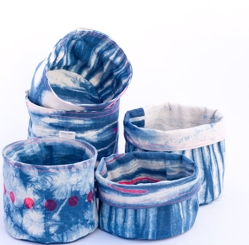 Image of Indigo Fabric Baskets or Planter Sacks