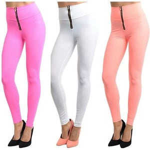 Image of Zip up high waist leggings