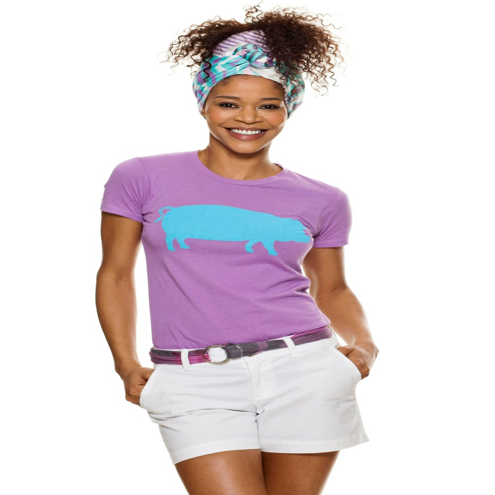 Image of girl's lilac/turquoise farm sanctuary pig tee