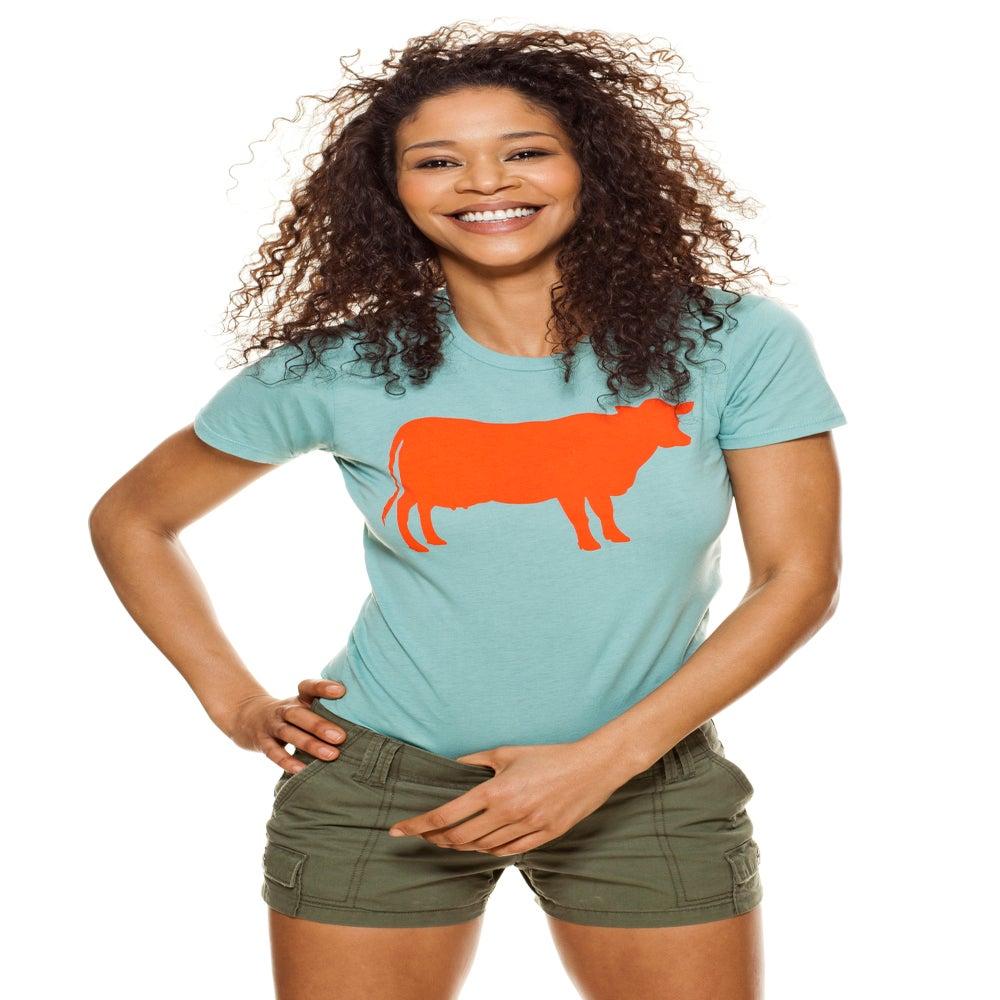 Image of girl's aqua/orange farm sanctuary cow tee