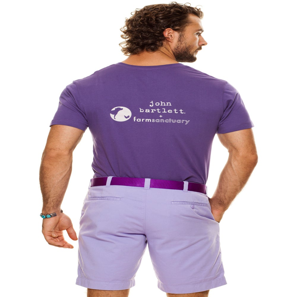 Image of guy's imperial purple farm sanctuary pig tee