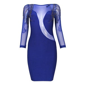 "Image of ""Lexi"" Embelleshed Blue Sheer Bandage Bodycon Dress"