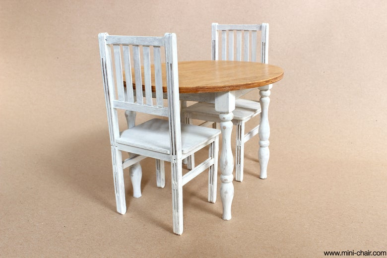 Image of 1/6 scale Round Table and 2 Chairs Dining furniture for dolls (Blythe, Momoko, Barbie)